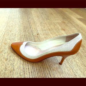 Brooks Brothers Amber Leather Cream Canvas Heels